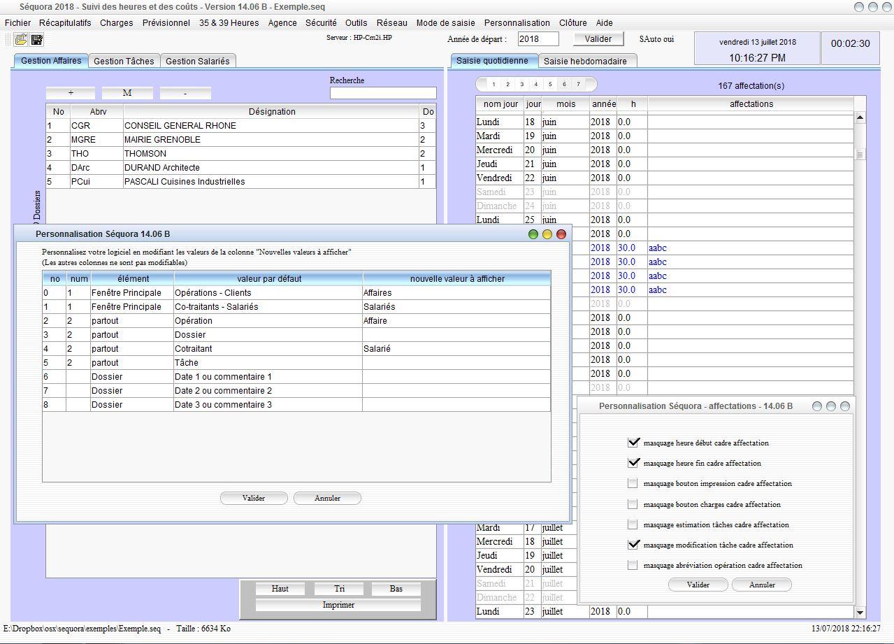 Personnalisation du logiciel de gestion des temps passés et de suivi des heures Séquora mac et pc